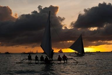 Sunset at White Beach in Boracay Island, Philipines
