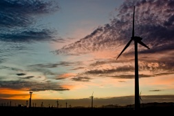 Windturbines cover the desert like land around Urumuqi - Xinjiang