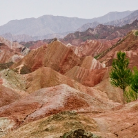 The red waves of Zhanye's Danxia Mountains in Gansu Province