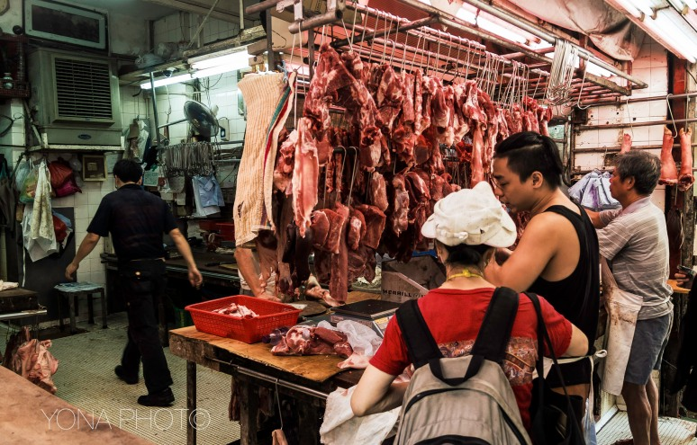 The meat market in Hong Kong Island
