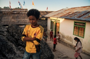 Indonesian Boy in Indonesian Gypsy village - Togean Islands