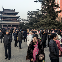 Crowded Sunday afternoon in central park during winter time - Taiyuan, Shanxi Province 2015