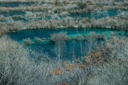 Aquamarin pools in Jiujiago in winter - Sichuan Province - China 2015