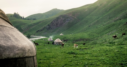 Kazhak minorities settle in the grasslands of Yili - Xinjiang Province 2012