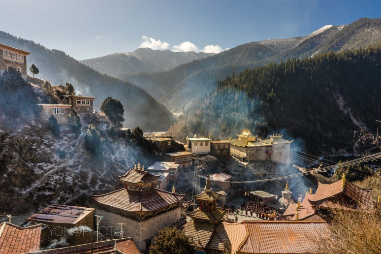 Morning smoke covers the Rangtang temple in Northern Sichuan